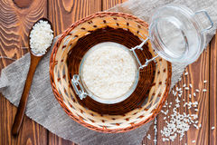 Bank with rice and wooden spoon in a basket Royalty Free Stock Photos