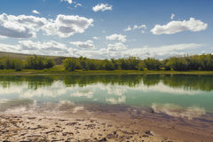 Bank of the river in Altai Mountains Royalty Free Stock Images