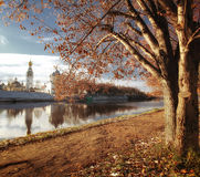 Bank of the river in the city sunset russia Royalty Free Stock Photo