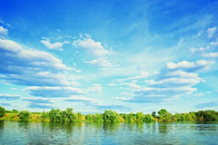 Bank of river with green trees Royalty Free Stock Image