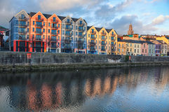 Bank of the river Lee in Cork, Ireland city center. With various shops, bars and restaurants. It is a third largest city in country and popular touristic resort Royalty Free Stock Photography