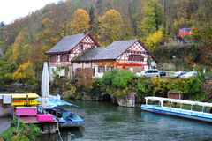 Bank of the River Rhine near the Rhine Falls Stock Photos