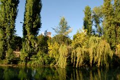 Bank of the river Sile in Treviso in the Veneto (Italy) Royalty Free Stock Photography