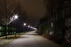 Bank of the river spree at night Stock Images