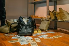 Free Bank Robbery, Bags Full Of Money And Gold Stock Photo - 158516380