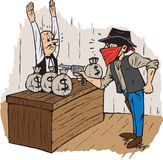 Bank Robbery. Cartoon of a bank robbery in western times Royalty Free Stock Photo