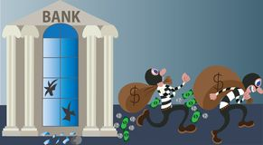 Bank Robbery night. Bank robbers make off with loads of cash Royalty Free Stock Photo