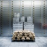 Bank safe and boxes with gold 3d Royalty Free Stock Photos