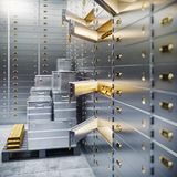 Bank safe and boxes with gold 3d. Illustration Royalty Free Stock Photography