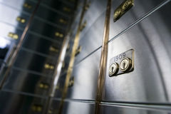 Bank safe deposit boxes stock photo