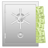 Bank safe with dollar banknotes Stock Photography