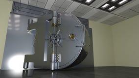 Bank safe door, large metal vault door open, 3D illustration. Bank safe door, large metal vault door open, 3D render Royalty Free Stock Image