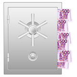 Bank safe with five hundred euro banknotes Stock Image