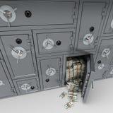 Bank safe full of dollars Stock Photos