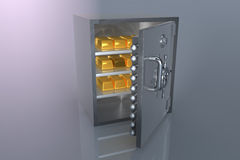 Bank safe and gold. 3D bank safe with gold bar Royalty Free Stock Image
