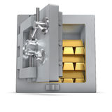 Bank safe with gold bars. 3d rendering of an open bank safe filled with gold bars Stock Photos