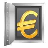 Bank safe and gold euro symbol Royalty Free Stock Photo