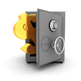 Bank safe with golden dollar symbol on white background Royalty Free Stock Photos
