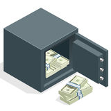 Bank safe with money dollar stacks. Safe open with money. Vector 3d isometric illustration Royalty Free Stock Images