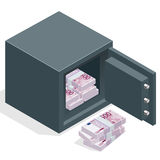 Bank safe with money euro stacks. Safe open with money. Vector 3d isometric illustration Royalty Free Stock Photos