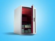Bank safe with money stacks of dollar bills 3d render on blue Royalty Free Stock Image