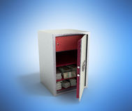 Bank safe with money stacks of dollar bills 3d render on blue Royalty Free Stock Photos