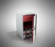 Bank safe with money stacks of dollar bills 3d render on grey Stock Photo