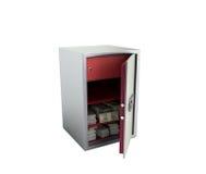 Bank safe with money stacks of dollar bills 3d render on white n Stock Images