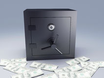Bank safe with money. Steel safe box and gold 3D. Protection concept Royalty Free Stock Photography