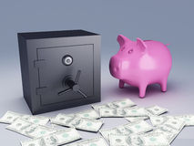 Bank safe with money Royalty Free Stock Photography