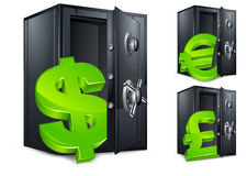 Bank safe and money symbol Royalty Free Stock Photos