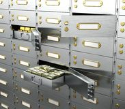 Bank is a safe open cell with gold and money. Stock Photos