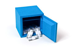 The bank safe with packs of banknotes Stock Photo