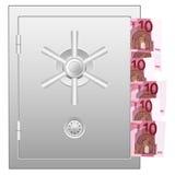 Bank safe with ten euro banknotes Royalty Free Stock Photo