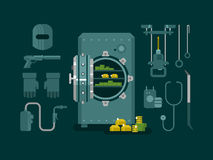 Bank safe with tools for hacking. Money and wealth, protection safety, finance deposit, business security, flat vector illustration Royalty Free Stock Image