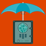 Bank safe,vault with dollar bills inside under an umbrella. Royalty Free Stock Images