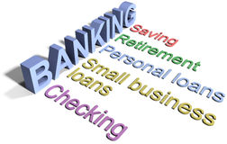 Bank saving financial business services. Banking business financial services list checking saving loans Stock Images