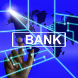 Bank Screen Indicates Online and Internet Banking Royalty Free Stock Image