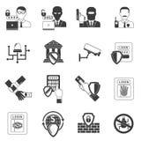 Bank security black icons set Stock Photos