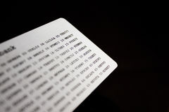 Bank security code card. A code card for using online banking Royalty Free Stock Photography