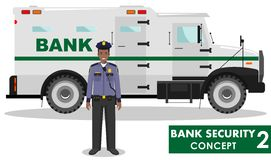 Bank security concept. Detailed illustration of bank armored car and security guard on white background in flat style.  Stock Photo