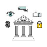 Bank and security design. Bank icon and security icons around over white background. vector illustration Royalty Free Stock Photography