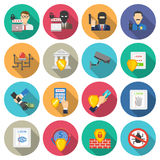 Bank security flat icons set Royalty Free Stock Image