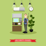 Bank security guard concept vector illustration in flat style. Vector illustration of armed security guard standing next to ATM. Bank security officer concept Stock Photo