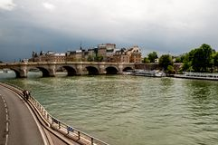 On the bank `Seine` in Paris royalty free stock photos
