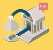 Bank serve a car. business concept design. Royalty Free Stock Images