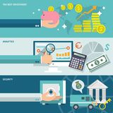 Bank service banners set. Bank service best investment analytic security horizontal banners set isolated vector illustration Royalty Free Stock Image