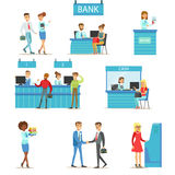 Bank Service Professionals And Clients Different Financial Affairs Consultancy, ATM Cash Manipulation And Other Business. Collection Of Illustrations. Smiling stock illustration