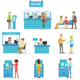 Bank Service Professionals And Clients Different Financial Affairs Consultancy, ATM Cash Manipulation And Other Business. Set Of Illustrations. Smiling People stock illustration