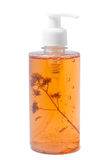 Bank of shampoo with a sprig of flax. Bank of shampoo with sikelet wheat royalty free stock images